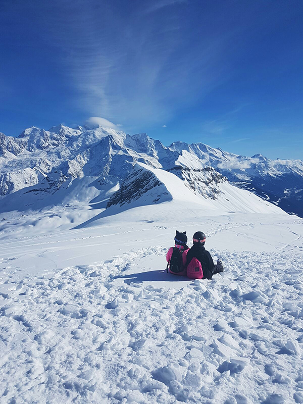 looking out at Mont Blanc Flaine Ski resort crystal ski holidays