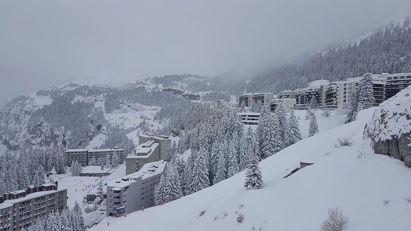 Crystal ski holidays Flaine resort after snowfall